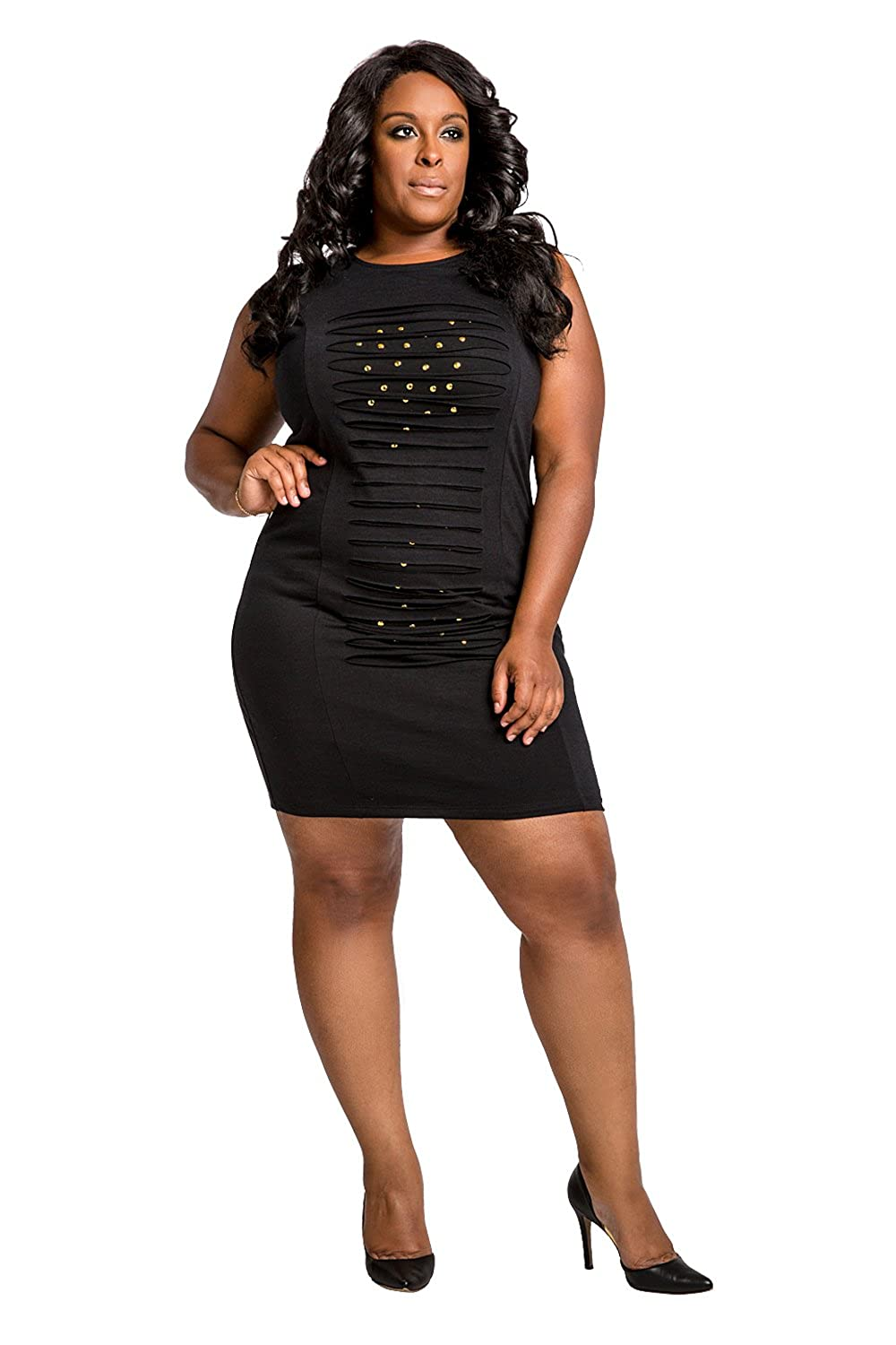 62ce9e322 Poetic Justice Plus Size Curvy Women's Black Ponte Front Studs Hourglass  Dress at Amazon Women's Clothing store: