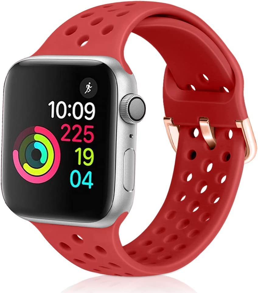 Relting Compatible with Apple Watch Band 42mm 44mm, Soft Silicone Sport Breathable Replacement Strap Compatible for iWatch Series 6, 5, 4, 3, 2, 1 for Women and Men (red, 42mm/44mm)