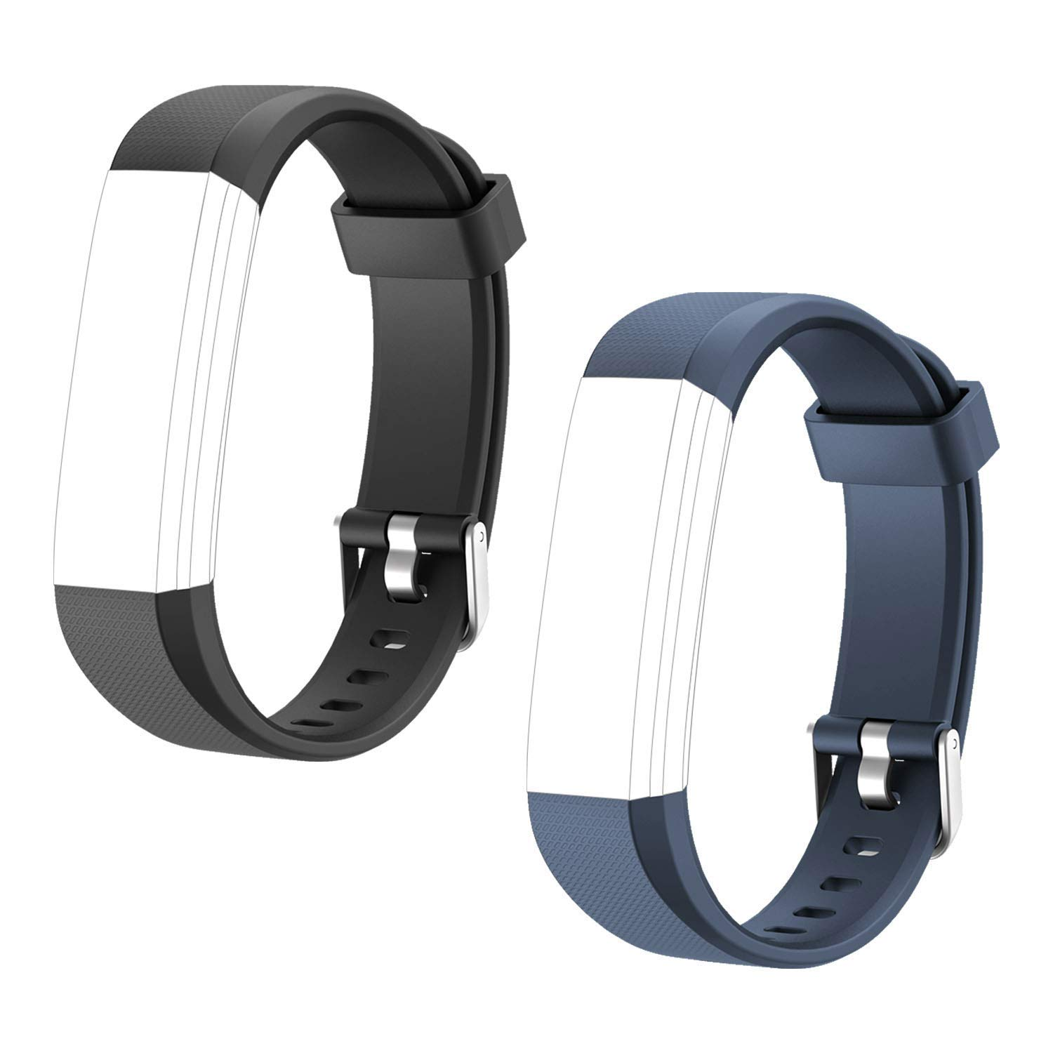 Letsfit Replacement Bands for Fitness Tracker ID115U HR, ID115U HR Accessory Bands, Adjustable Replacement Straps, 2 Pack (Black, Blue)