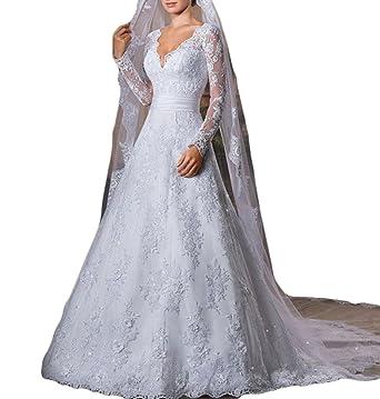 Vweil Vintage Inspired Vestidos De novia Long Sleeve Lace Bridal Wedding Gowns For Women Ivory US2