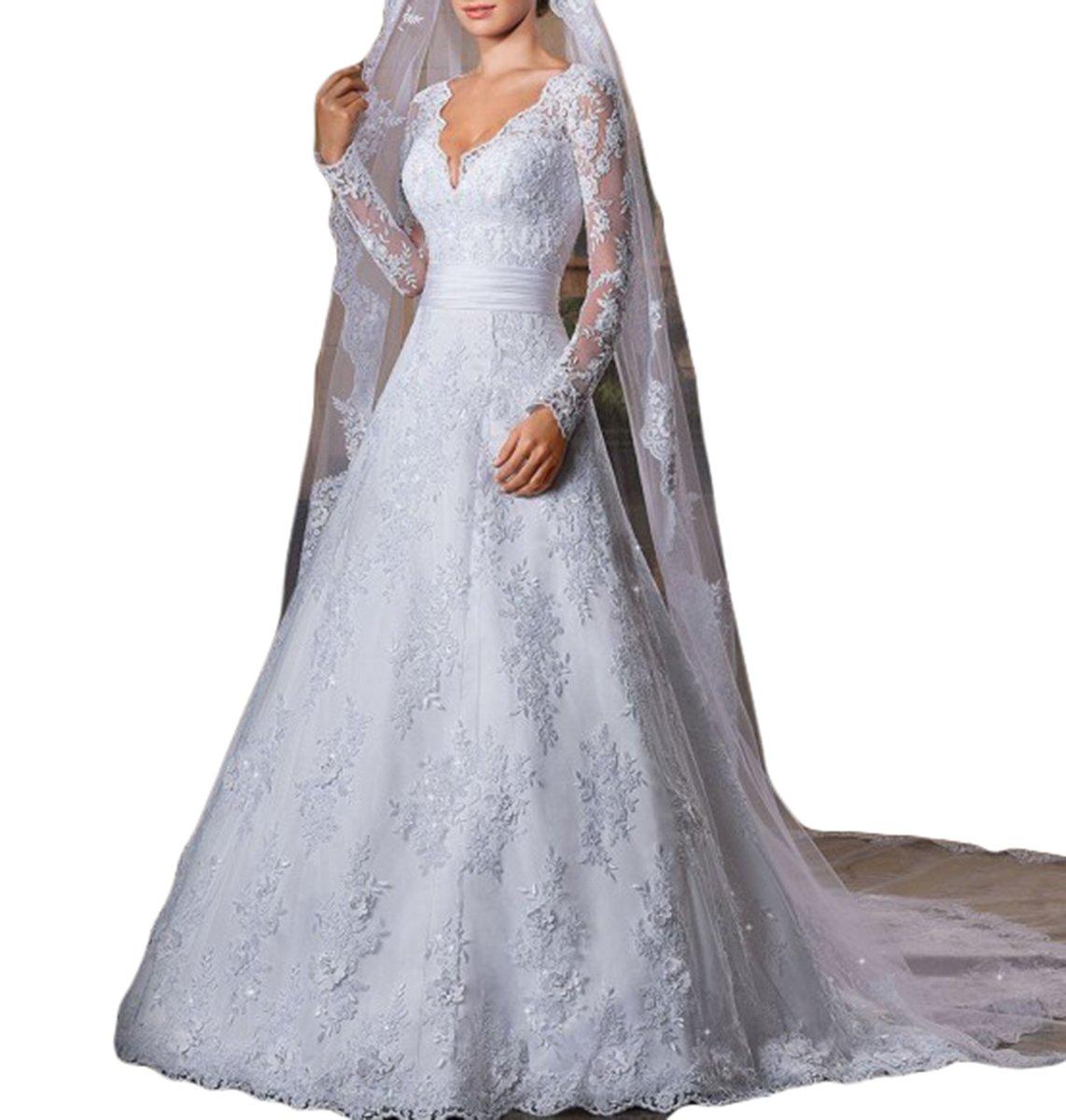 Vweil Vintage Inspired Vestidos De novia Long Sleeve Lace Bridal Wedding Gowns For Women White US8