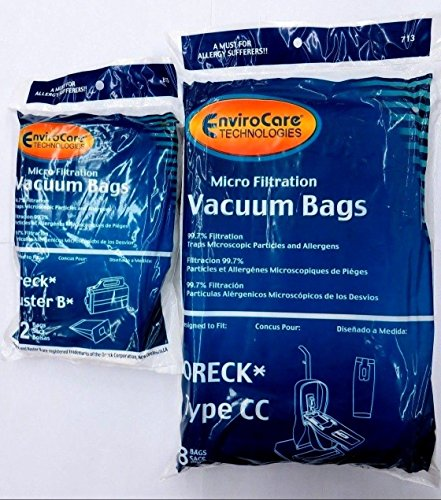 Oreck Vacuum Cleaner Bags To Fit Style CC, and all XL Upright Models (8 Oreck CC & 12 Buster B Bags) - Fits Oreck Buster