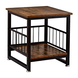 WAYTRIM Vintage Nightstands, Industrial-Style Side Table for Living Room, Stable Metal Frame Wooden End Table with Large Storage Rack