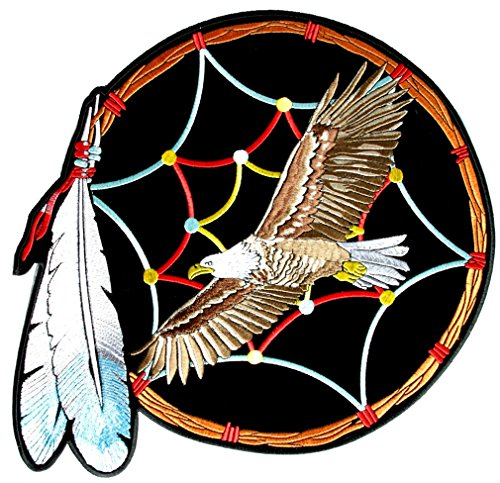 - Leather Supreme Eagle, Feathers Native Indian Dream Catcher Biker Patch-Red-Large