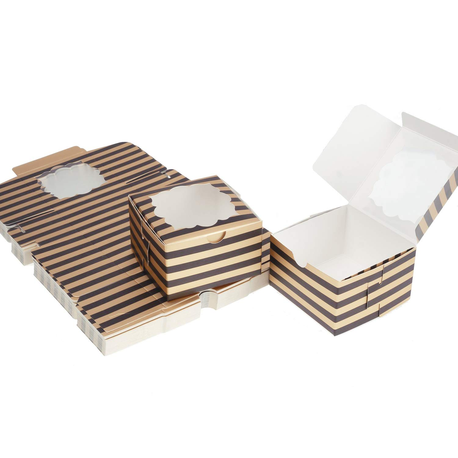 Aekopwera 50 Pack Black Bakery Boxes with Window 4x4x2.5 inches, Pastry Boxes with Gold Stripes Dessert Boxes Treat Boxes for Gift Giving