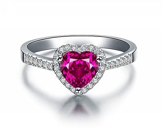 Amazoncom Siarola White Gold Filled 7mm Heart Shaped Ruby Ring W