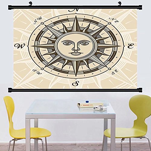 Gzhihine Wall Scroll Compass Decor Collection Vintage Compass Rose with Sun Shape Human Face Historic Decorating llustration Wall Hanging Beige Brown - Shape Audrey Face Hepburn