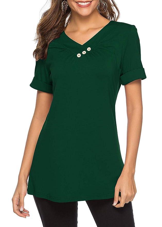 KISSMODA Womens T-Shirt Langarm-Sweatshirt Einfarbig Casual Blusen Tunika Tops