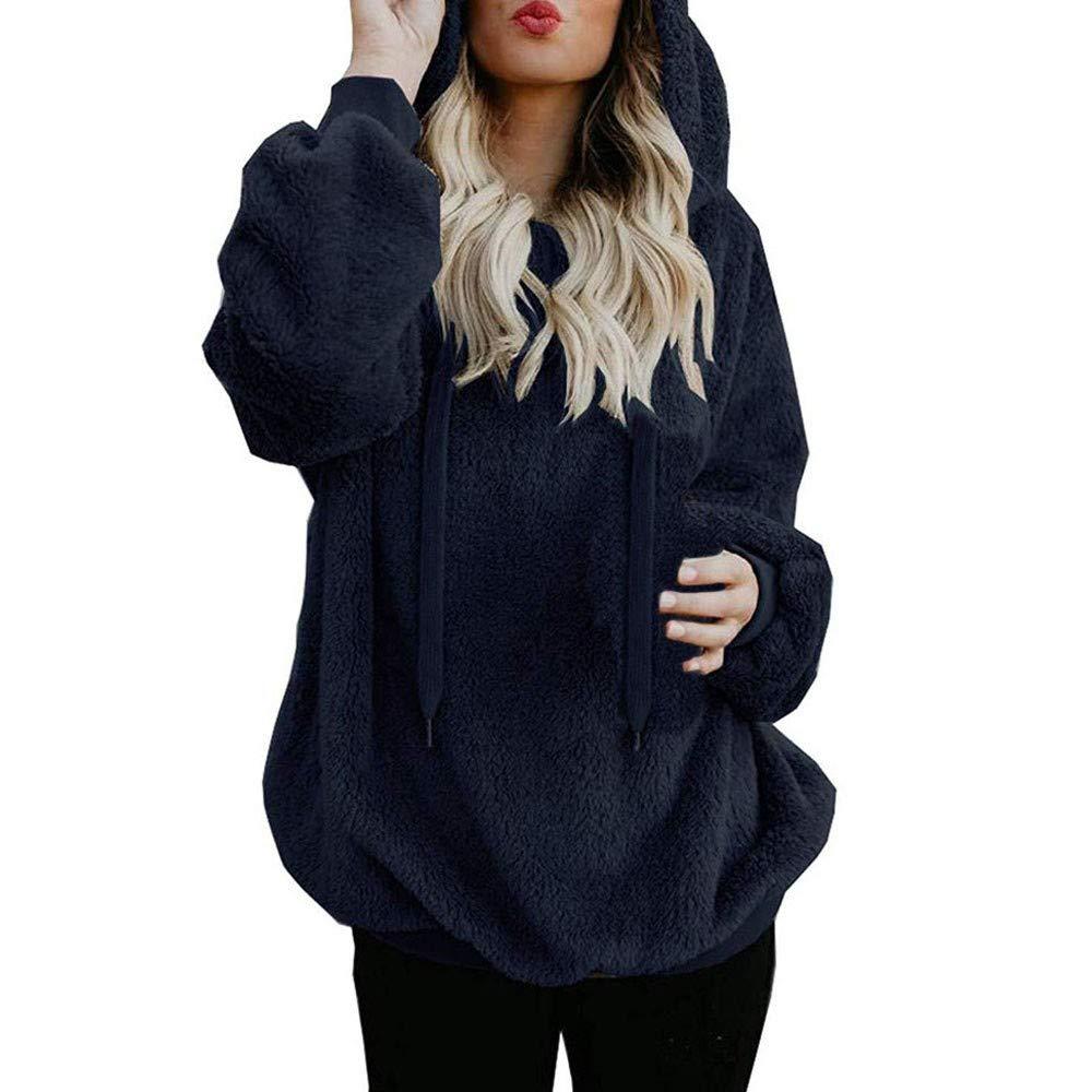 SADUORHAPPY Women's Hoodie Autumn Winter Long Sleeve Warm Fluffy Sweatshirt Pullover Top Jumper by SADUORHAPPY Long Sleeve