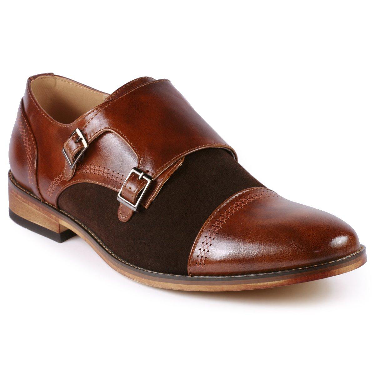 Metrocharm MC135 Men's Double Monk Strap Cap Toe Slip On Oxford Dress Shoes (13 D(M) US, Brown)