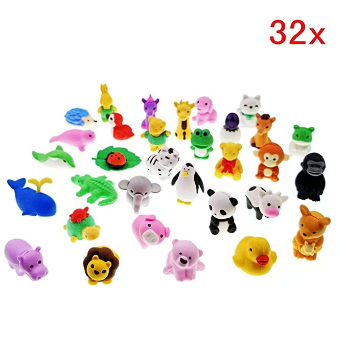 Packs of 12 or 24 Party Bag Filler IWAKO Erasers Animal and Food Overstock