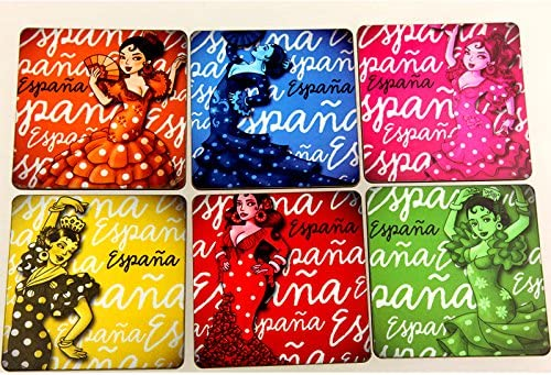 Compra Juego de 6 posavasos vidrio decorativa España souvenir baile flamenco Seville en Amazon.es