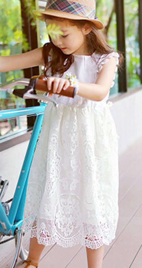Bow Dream Flower Girl's Dress Vintage Lace Off White 10 by Bow Dream (Image #4)
