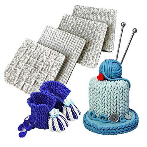 Wocuz Set of 4 Fondant Impression Mat Knitting Sweater & Crochet Texture Embossed Design Silicone Cake Cupcake Decorating Supplies molds
