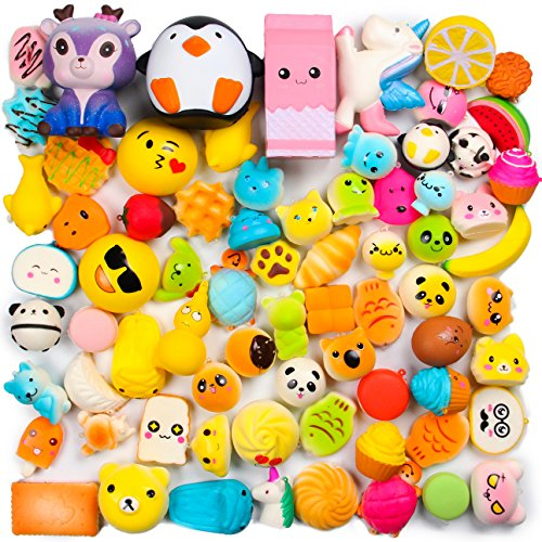 WATINC Random 50 Pcs Squishies Cream Scented Slow Rising Kawaii Simulation Lovely Toy Jumbo Medium Mini Soft Squishies, Phone Straps (WT-Squishy 50Pcs)