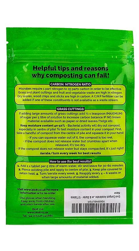 Envii Compost Accelerator- Envii Acelerador de Compost - Tratamiento Bacteriano que acelera el Proceso de Compostaje Iniciador & Descompositor Orgánico -12 ...