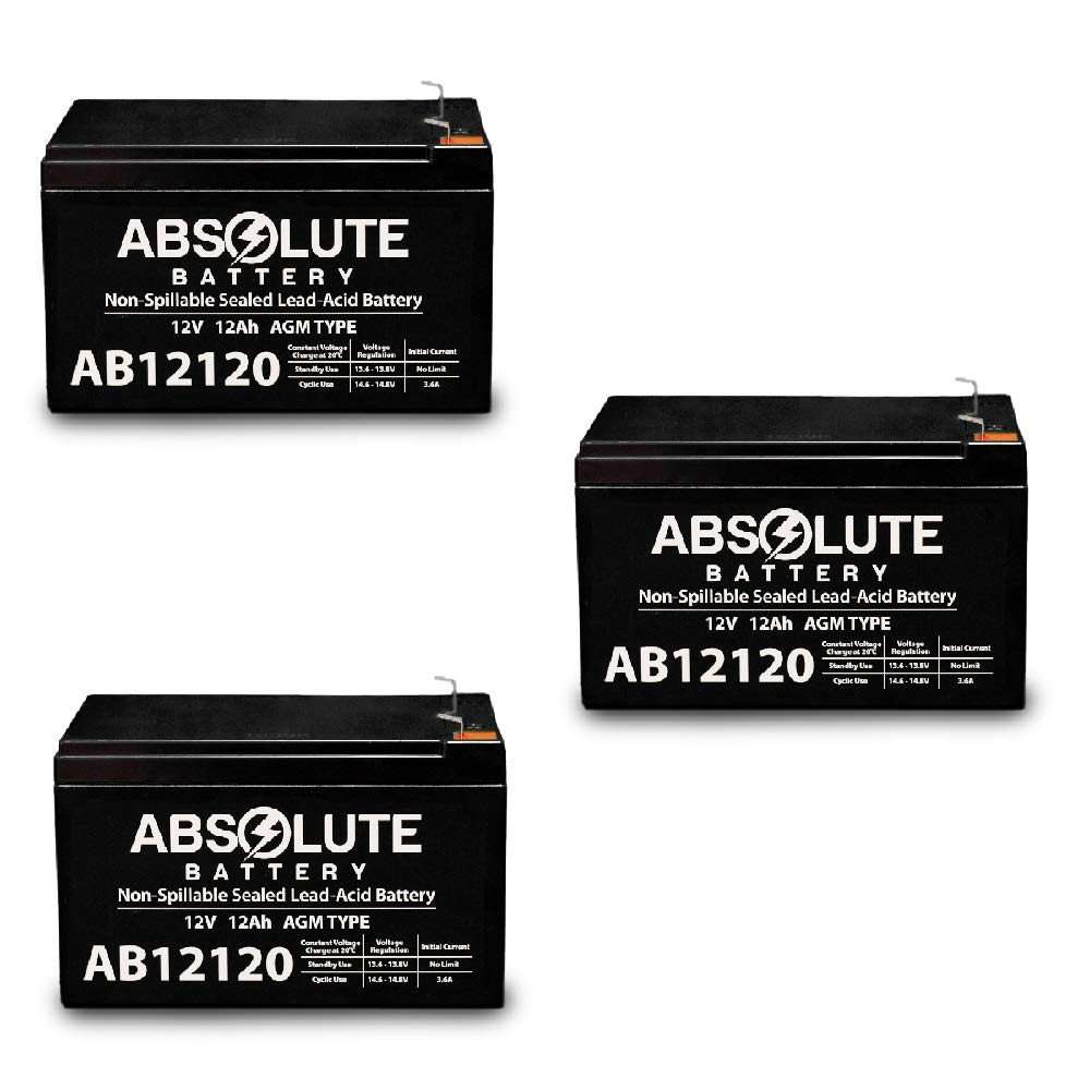 3 Pack 12V 12AH F2 Wheelchair Scooter Battery Replaces Kung Long WP12-12 by Absolute Battery