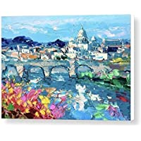 Rome Italy Canvas Wall Art Italian Sistine Chapel Prints Eternal City Artwork Vatican St Peter's Basilica Cathedral Pictures Home Decor Living Room Christmas Gifts Woman Men Painting Agostino Veroni