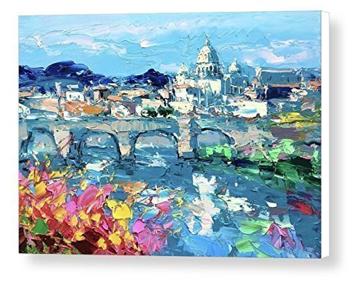 Rome Italy Canvas Wall Art Italian Sistine Chapel Prints Eternal City Artwork Vatican St Peter's Basilica Cathedral Pictures Home Decor Living Room Christmas Gifts Woman Men Painting Agostino (Roma Vatican View Fashion)