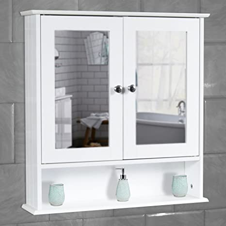 Super Quality White Bathroom Wall Cabinet With Mirror Shelves Storage Cupboard Wooden Home Interior And Landscaping Fragforummapetitesourisinfo