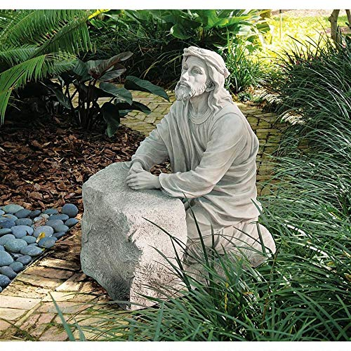 Design Toscano Jesus in the Garden of Gethsemane Religious Garden Statue, 23 Inch, Polyresin, Antique Stone