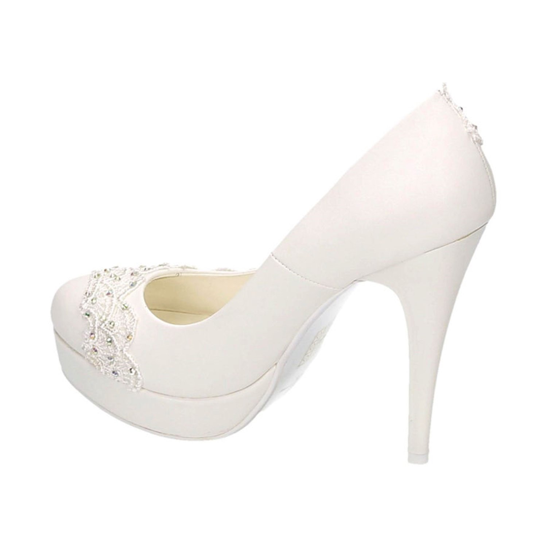 Damen Brautschuhe Hochzeit Pumps Weißszlig; Strass Nieten Plateau Stilettos Elegant High Heels Plateau Nieten Abend Schuhe Bequem Weiß 21 c62765