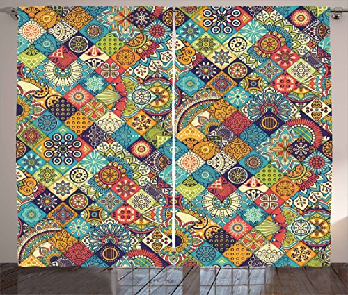Abstract Figure Art (Ambesonne Bohemian Curtains, Checkered Pattern with Ethnic Ornamental Floral Figures Ethnic Folk Art Abstract, Living Room Bedroom Window Drapes 2 Panel Set, 108 W X 63 L Inches, Multicolor)