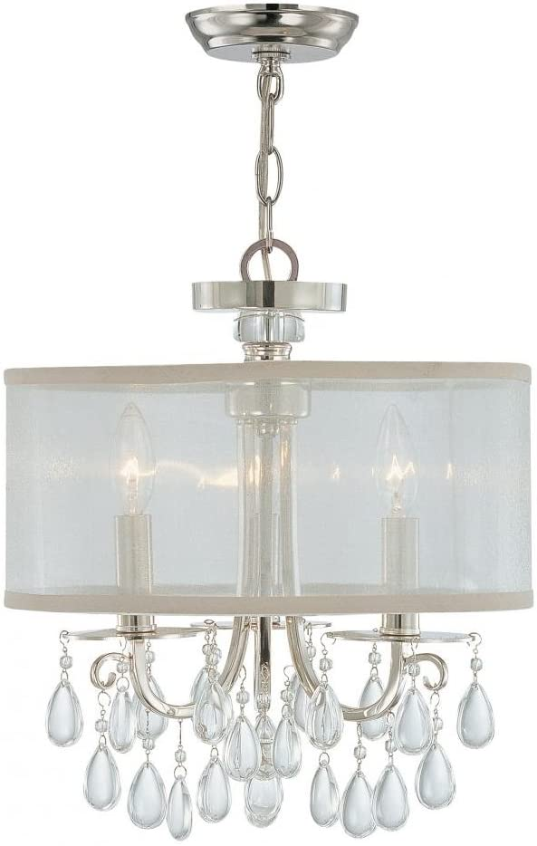 Crystorama 5623-CH Crystal Accents Three Light Mini Chandeliers from Hampton collection in Chrome, Pol. Nckl.finish,
