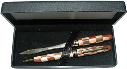 Multi Color de madera juego de bolígrafo y abrecartas en caja: Amazon.es: Oficina y papelería