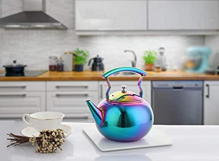 OMGard Tea Kettle with Infuser Loose Leaf Rainbow Teapot 2 Liter Tea Coffee Pot Stainless Steel Strainer Colorful Teakettle for Stovetop Induction Stove Top Boiling Water Camping 2 Quart 68 Ounce