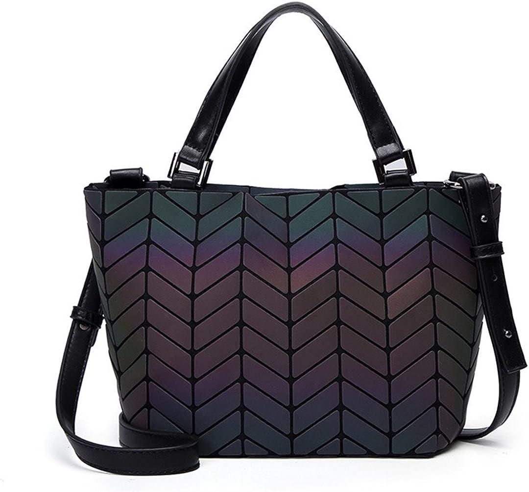 Geometric Sequins Mirror Solid Color Folding Shoulder Bag Luminous Handbag