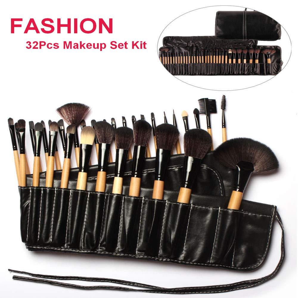 New Professional 24pcs Makeup Brush Set Make-up Toiletry Kit Wool Brand Make Up Brush Set + Leather Case (Beige) WIMKEN