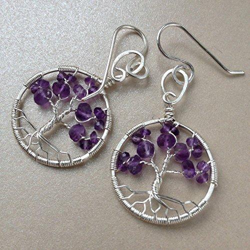 Amethyst Tree Of Life Earrings, 6th Anniversary, February Birthstone, Tree-Of-Life Gemstone Earrings (Trees Birth)