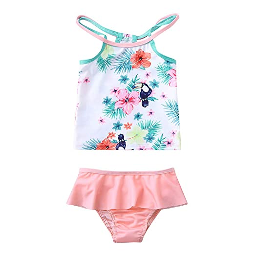 3a560d25d6af6 Amazon.com  Baby Toddler Girl Two Piece Bikini Set Swimsuit for 1-6 Years Old  Children Vest Floral Print Bathing Swimwear Set  Clothing