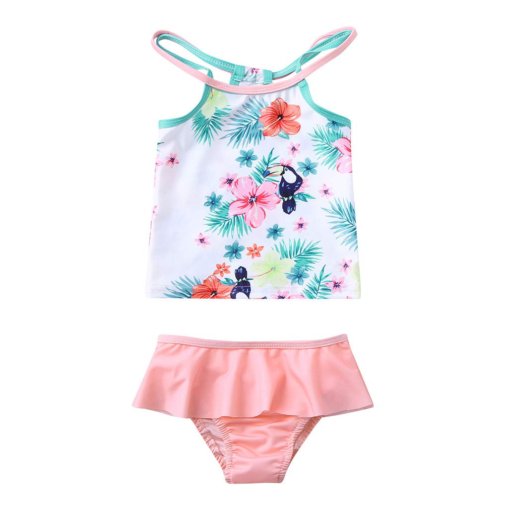 Girls Kids Baby Floral Print Ruffle Cross Bandage Bikini Swimsuit Two-Piece Underwear Swimwear Pretty Girls Bathing Suit Swimming Costume Beachwear,Suit for 1-6 Years waitFOR Swimwear for Baby Girls