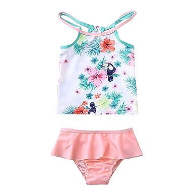 e7deecefc6d TiTCool Cute Baby Girls Swimsuit Two Piece One Shoulder Bikini Set Ruffle  Tankini Bathing Suits (