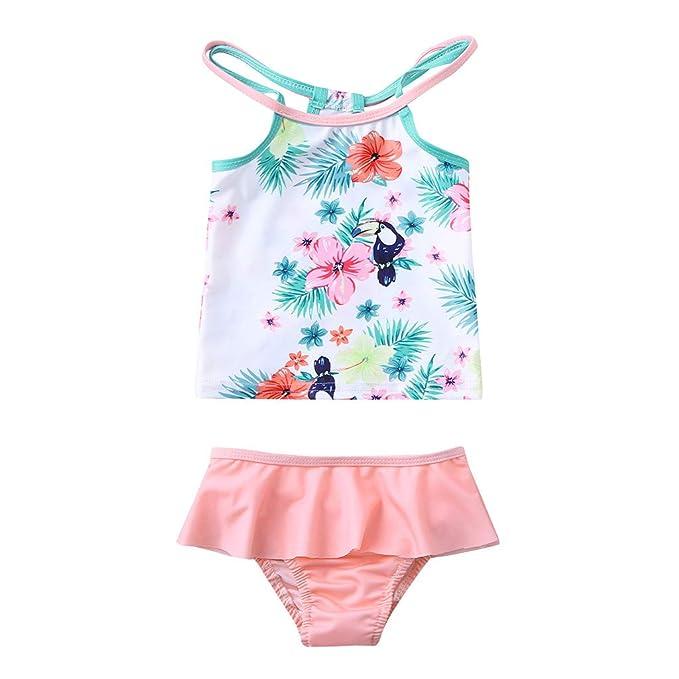 d8308ed3f5f4 Costume da Bagno Ragazza Estivi Spiaggia BANAA Due Pezzi Costumi Bagno  Intero Bambina Mare Swimwear Stampa