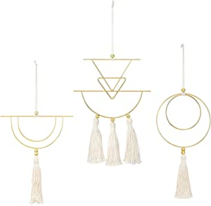 Isuesee 3 Pcs Small Macrame Wall Hanging Cute Fringed Wall Art Brass Wall Hanging Tassel Handmade with Metal Ring for Boho Home Decor