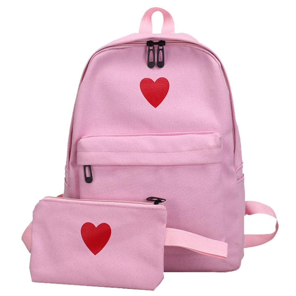 Aobiny Backpack Canvas Girl Heart Backpack Student Bun (Pink)