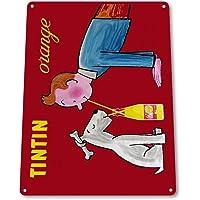 Tintin - Placa metálica Decorativa de Metal