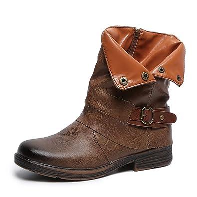 4e241e4255eb6 OYSOHE Damen Vintage Stiefel, Runde Kappe Leder Booties ...