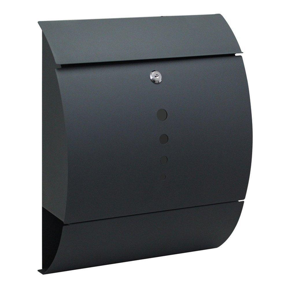 LZQ Estilo moderno Buzó n de Acero Inoxidable Buzó n de Exterior ara cartas y correo postal con el perió dico rollo Bloqueable 2 Llaves, Antracita, 320 x 450 x 100 mm