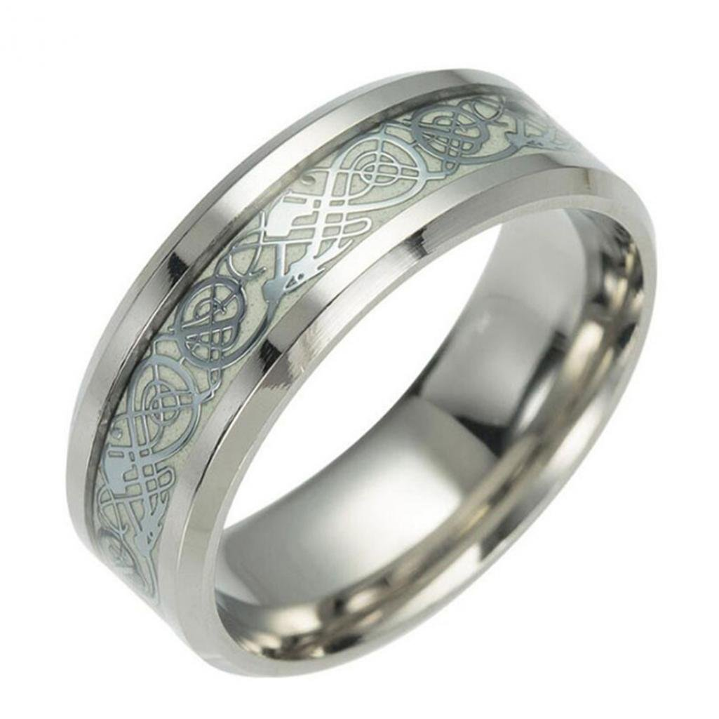 Ameesi Vintage Luminous Dragon Design Stainless Steel Classic Band Ring for Men Women