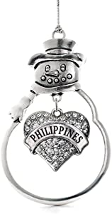 Inspired Silver - Philippines Charm Ornament - Silver Pave Heart Charm Snowman Ornament with Cubic Zirconia Jewelry