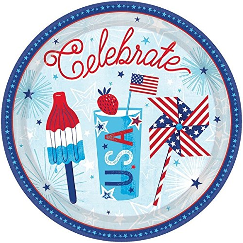 Patriotic Party Supplies for 18 Guests: Plates, Napkins and USA Flag Picks by Life on the Lane (Image #2)