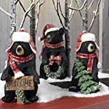 RAZ Imports Black Bear 8.5'' Bears With Hat and Scarf (Set of Three)