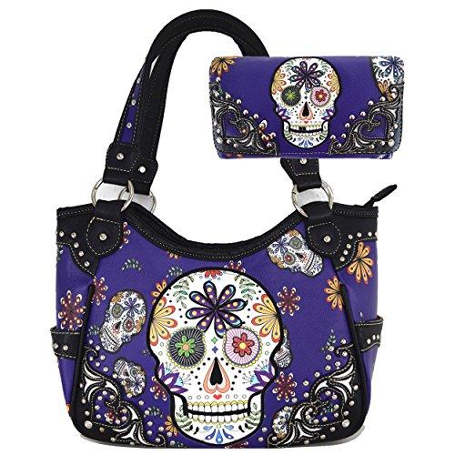 Sugar Skull Day of the Dead Halloween Western Punk Women's Rivet Shoulder Bag Handbags With Wallet Set (Purple)