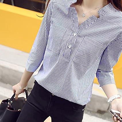 Camisa Formal para Las Mujeres de Moda, Blusa Decorar de 2 Botones Solapa, Camisa
