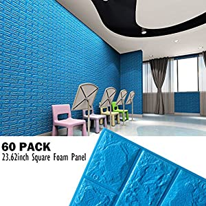 Peel And Stick Blue Foam Wall Panels For Boys Room Decor, 3D Foam Brick Wallpaper Self-adhesive Removable Wall Paper for TV Background, Kids Children Play Room, Bedroom, Kindergarten/ 60 PACK