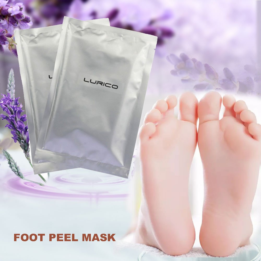 LURICO Exfoliating Foot Peel Mask - 2 Pair Foot Exfoliation Peeling Mask, Removes Away Calluses and Dry Dead Skin, Baby Soft Touch, Lavender Scented, Get Soft Foot Naturally in 1-2 Weeks